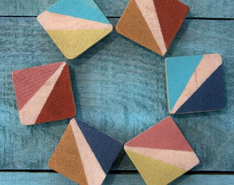 Reclaimed Wood Hand Painted Color Block Magnets (Multi-Color)