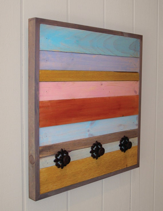 Reclaimed Wood Coat Rack (Multi Color)
