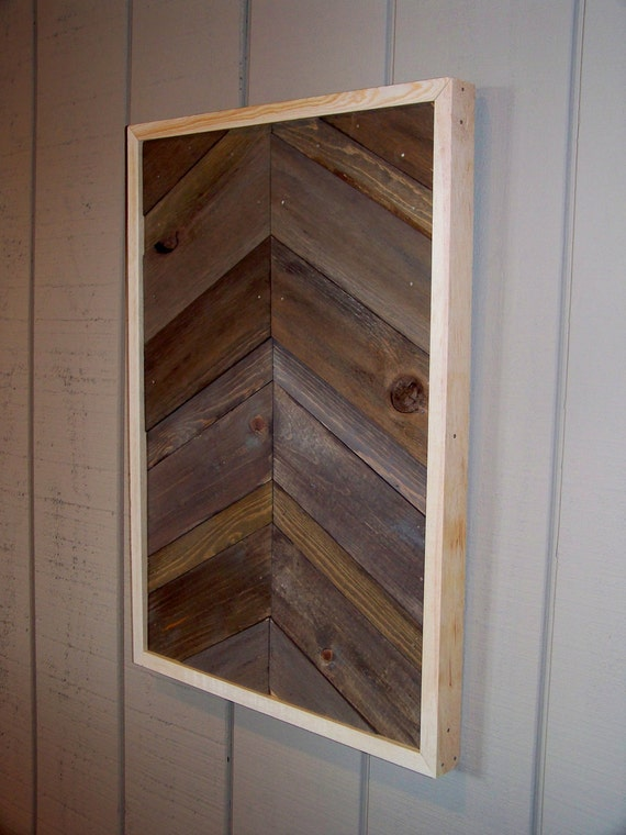 reclaimed wood chevron pattern wall art