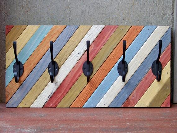 Reclaimed Wood Diagonal Coat Rack