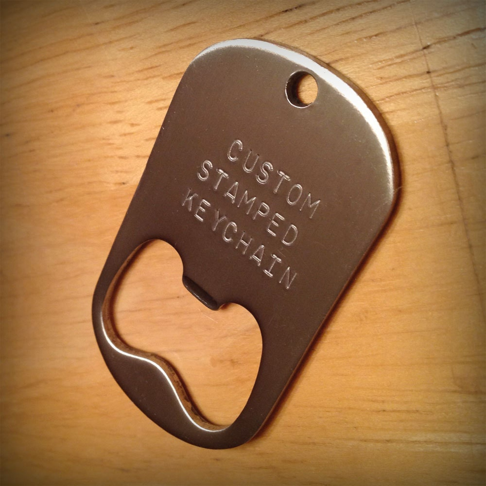 personalized bottle opener keychain hand stamped steel by poptag. Black Bedroom Furniture Sets. Home Design Ideas