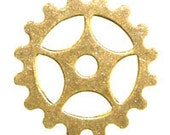 ON SALE! 20% OFF! 25mm Gear - Antique Gold Trinity Brass