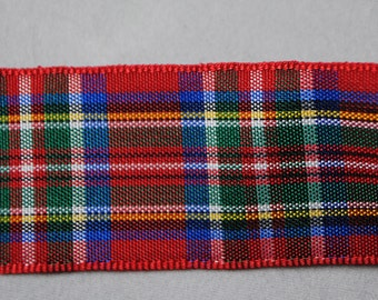 Red, Green, Blue and White Plaid Ribbon 2 Yards - Trim 1 inch wide