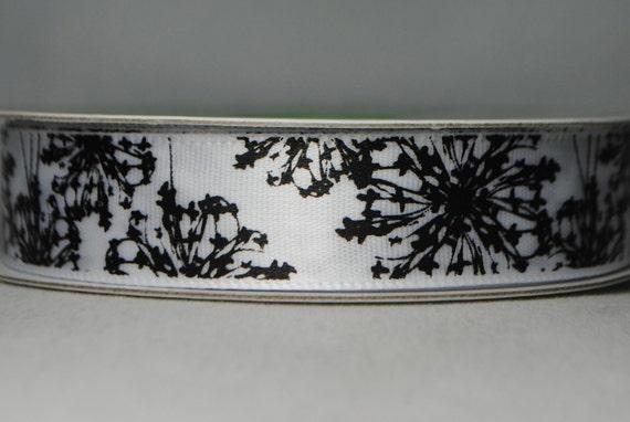 Dandelion Print Satin 2 Yards - 5/8 inches wide