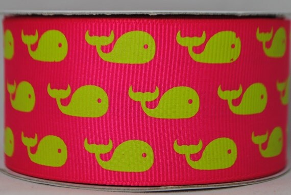 Whales Print Ribbon Pink and Green 4 Yards - Grosgrain Trim 1.5 inches wide