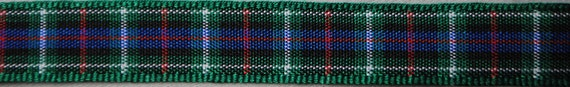 Green and Blue Plaid Ribbon 2 Yards - Trim 3/8 inch wide