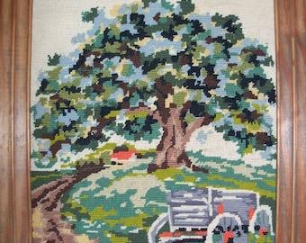 VINTAGE NEEDLEPOINT Wagon and Tree