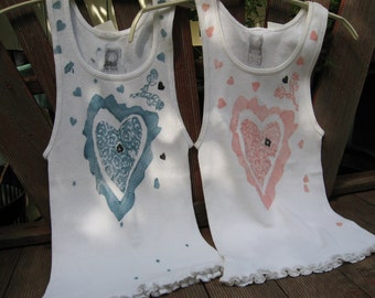 USA made 100 Percent Cotton Two Tank Tops Sz. Small Hand Stenciled Japan Kawaii Cute Sexy Adorable