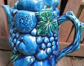 Vintage Inarco Mood Indigo Tea / Coffee Pot organic Japanese, Woodland, Fruits Nature theme
