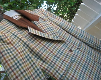 Vintage Sz.2 Ann Taylor Wool Multi-color Plaid/Check Jacket BrownSuede Collar Mad Men Mod Preppy Professional Work Play