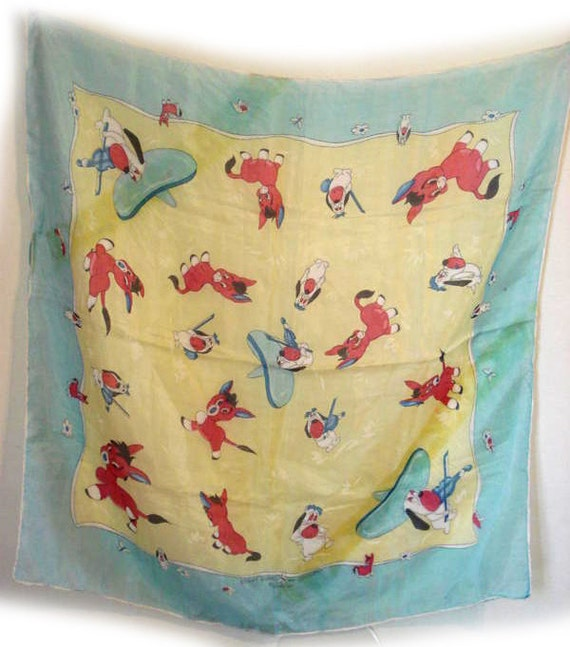 Loews Droopy and Benny Burro Vintage Scarf