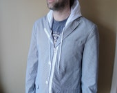 SALE - Size Large - Men's Restructured Blazer Jacket With Hood and Zipper