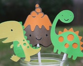 Dinosaur Cupcake Toppers, Dinosaur Theme, Dinosaur Party, RESERVED Listing for Patricia Stanton-Winkle