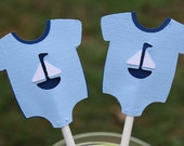Onesie Cupake Topper, Nautical Theme, Sailboat Shower, RESERVED Listing for Mary McMorrow