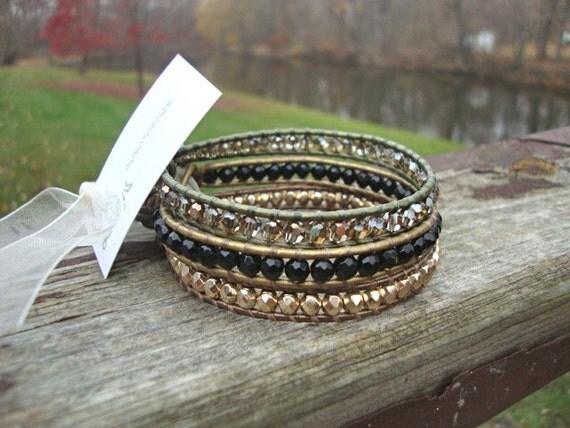 Beaded leather wrap bracelet trio