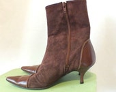 Size 5.5 1980s Leather Stilleto Ankle Boots Size 5.5 Made in Italy