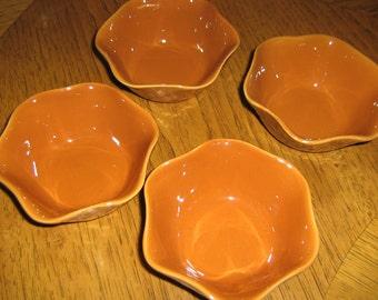 TREASURY LIST ITEM - Caramel color Ceramic Ice Cream or Dessert Dishes, Set of 4
