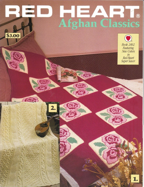 VINTAGE Red Heart Afghan Patterns for Knit/Crochet