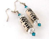 Blue Zircon Upcycled Paper Bead Earrings, Music  Jewelry,  Sheet Music Art, December Birthstone