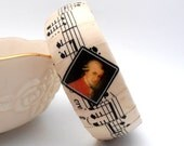 Music Bangle Bracelet, Antique Sheet Music, Recycled Paper Jewelry Classical Composers Mozart, Beethoven, Chopin