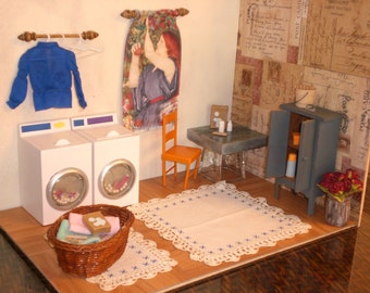 Barbie Doll House LAUNDRY ROOM Complete Room Washing Machine Dryer Furniture Accessories ooak