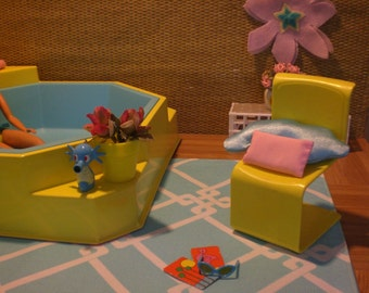 Barbie Doll House HOT TUB PATIO Complete Room Pool Garden Ken Furniture Accessories ooak