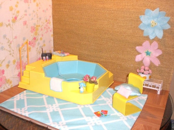 Barbie doll house hot tub patio complete room pool garden ken for Barbie doll house with swimming pool