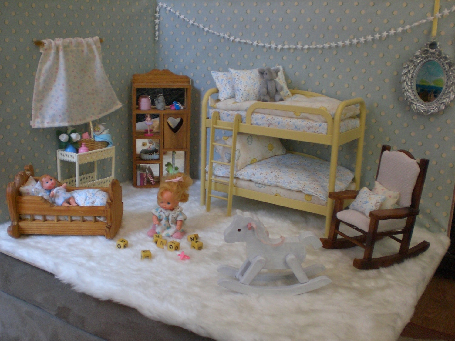 Barbie Doll Baby Nursery Complete Room Walls Furniture