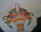Luncheon Tablecloth, Hand-Embroidered Floral (1940s) -- 50% OFF SALE