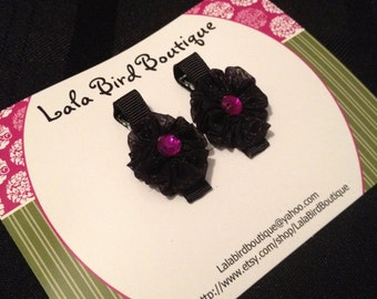 Hairclip - Toddler, Child, Baby - Black Organza Ribbon Flowers with Beaded Center - Set of Two- READY TO SHIP