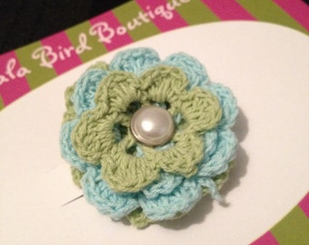 Hairclip - Toddler, Child, Baby - Aqua and Mint Green Crocheted Flower - READY TO SHIP