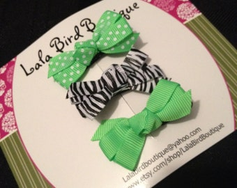 Itty Bitty Bows - Toddler, Child, Baby - Lime Green and Zebra Bows  - Set of three - READY TO SHIP