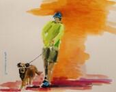 Dog Walker  Original Watercolor Landscape-John Williams