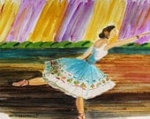 Dress Rehearsal Original Watercolor Ballerina Ballet Dance Painting JMW Portfolio John Williams Art Impressionism