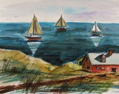 On the Cove Original Watercolor Sea Sailboats Seascape JMW art John Williams