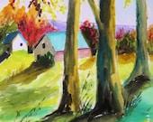 Beyond the Pasture Original Watercolor Landscape Painting John Williams art JMW Portfolio