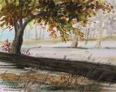 Along the Road on a September Morning Original Watercolor landscape JMW art John Williams Impressionism