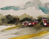 Buck's County Farm  Original Watercolor Barn Fields Landscape Painting JMW art John Williams Impressionism