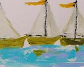 On a Blue, Blue Sea  Original Acrylic Expressionism Sailboat landscape JMW art John Williams