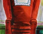 Berry Red Original Watercolor Chair Furniture Painting  John Williams art JMW Impressionism artwork