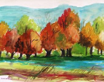 ORIGINAL  Quiet Water Watercolor painting John Williams JMW Portfolio Landscape Scene Impressionism