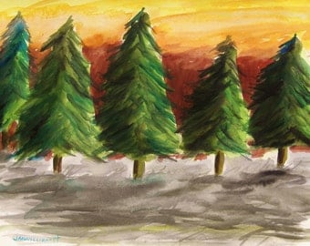 Pines Standing in Gray Original Watercolor Landscape JMWPortfolio John Williams Painting Impressionism
