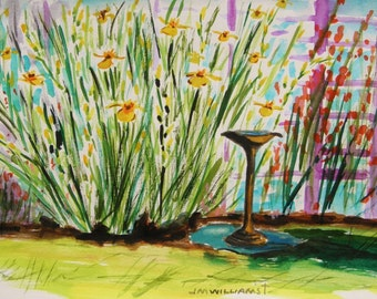 Yellow Irises Original Watercolor Landscape Painting John Williams JMW Portfolio Impressionism