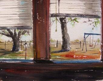 Backyard Swing Original Watercolor yard landscape  Painting John Williams JMW art Impressionism