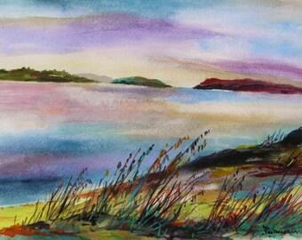 Winter Daybreak Original Watercolor Landscape Painting John Williams JMW Portfolio Impressionism aer