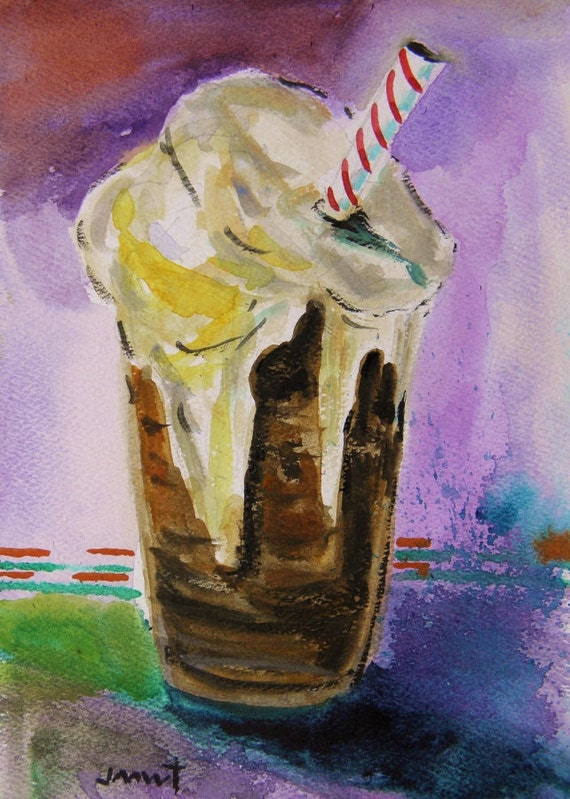 Root Beer Float Original Watercolor Food Beverage Painting  John Williams art JMW Impressionism