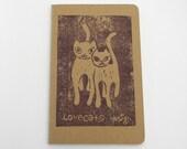 Hand printed Moleskine pocket notebook. LoveCats linocut. Plum