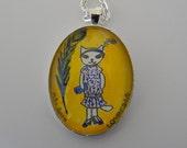 Unique Watercolor Pendant. Retro Fashionista Kitty.  Roaring Twenties