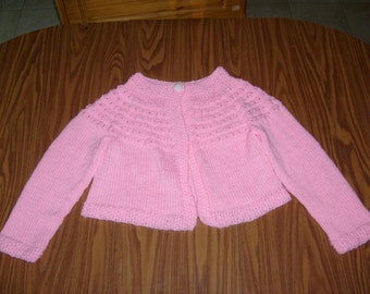Girls Hand Knit Sweater- Petal Pink