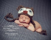 Fuzzy Owl hat and baby photography prop - available in newborn, all baby sizes, and toddler sizes, brown with earflaps and braids